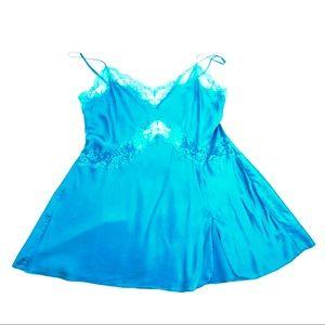 Victoria Secret Women's Silk Lingerie Teal Chemise